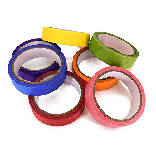 TradeGear Colored Masking Tape 7 Pk – 1 Inch x 15 Yards (45 Ft) - Rainbow Color General Purpose Craft Paper Tape – Perfect for Art, Labeling, Color Code, Classrooms, Painters, Kids, Home, Office, DIY Photo #2