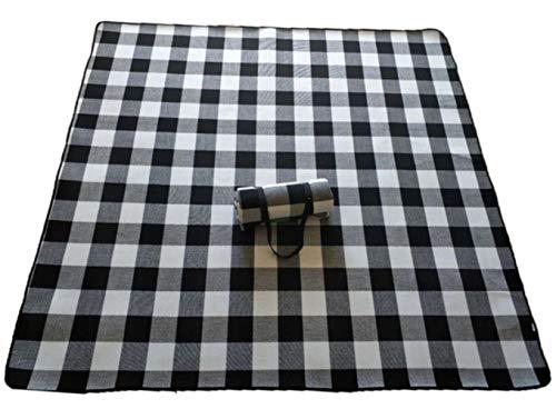 Bele 200 * 300cm Picknickmatte Manta Picknickdecke Camp Teppich feuchtigkeitsbeständig Wasserdicht langlebig tragbar maschinenwaschbar, Schwarz-Weiß-Gitter, 150cm 200cm