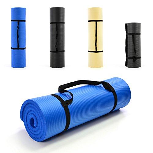 Nexos Yoga-Matte extra-dick und weich Gymnastikmatte Fitnessmatte Pilates-Matte schadstofffrei mit Tragegurt 190 x 60 x 1,5 cm, Farbe blau Turnmatte