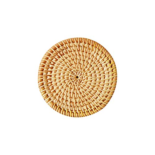 MagiDeal Tapete de Mesa de ratán Tejido a Mano con Aislamiento térmico para Tazas, ollas, Vasos de Vidrio - 8cm