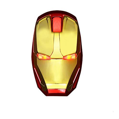 Ratón inalámbrico ergonómico, Iron Man ratón 2.4G ratón del Ordenador portátil móvil con Receptor Nano USB, Adecuada para la luz Creativa Personalidad ratón inalámbrico,Rojo