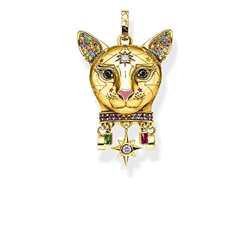 THOMAS SABO Damen Anhänger Katze Gold 925 Sterlingsilber, 750 Gelbgold Vergoldung, Kaltemail PE856-471-7