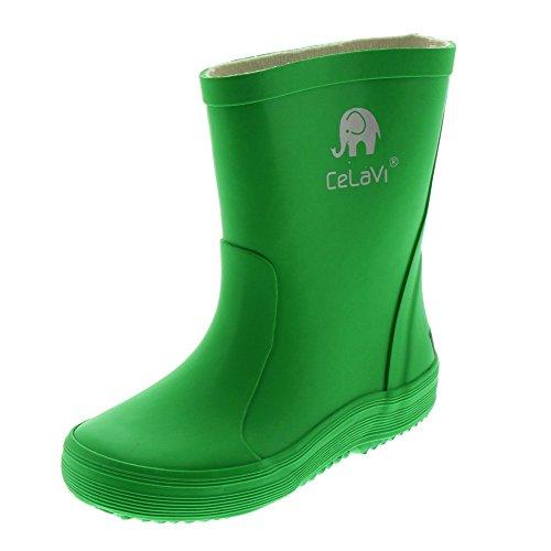 Celavi Kinder Unisex Wasserdichte Gummistiefel, 100% Naturkautschuk Regenstiefel, Größe: 19, Farbe: Grün, 1147