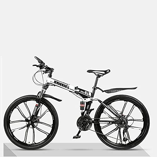 LHQ-HQ Bicicleta De Montaña Plegable para Adultos, Rueda De 26', Doble Suspensión, Freno De Disco Doble Adecuado De 21 Velocidades para Una Altura De 5.2 A 6 Pies,A