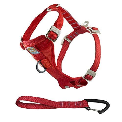 Kurgo Enhanced Tru-Fit Smart Hundegeschirr, Auto Geschirr für Hunde, vorderer D-Ring für Anti-Zug Training, inkl. Sicherheitsgurt für Hunde, Größe: S (klein) – rot