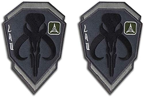 Mandalorian Mythosaur Skull Crest Bounty Hunter Boba Fett Shield Patch, Tactical Morale Embroidered Applique Badge Patches with Fastener Hook and Loop Backing 3.94 x 2.76 inch (Gray)