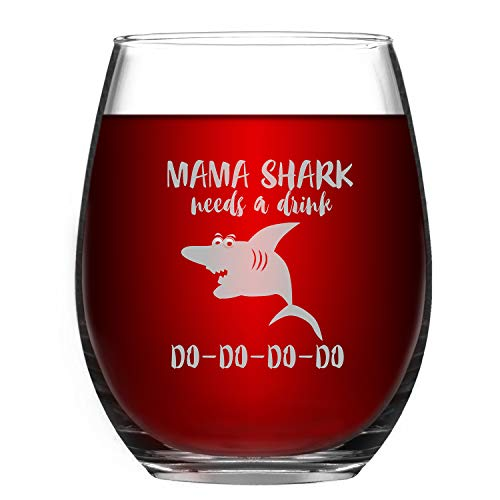 Wine Glass Baby Mama Shark Needs a Drink Do Do Novelty Wine Glass for Women with Sayings Funny Shark Gifts & Cup Accessories for Mom Mother Friends Funny Stemless Wine Glass