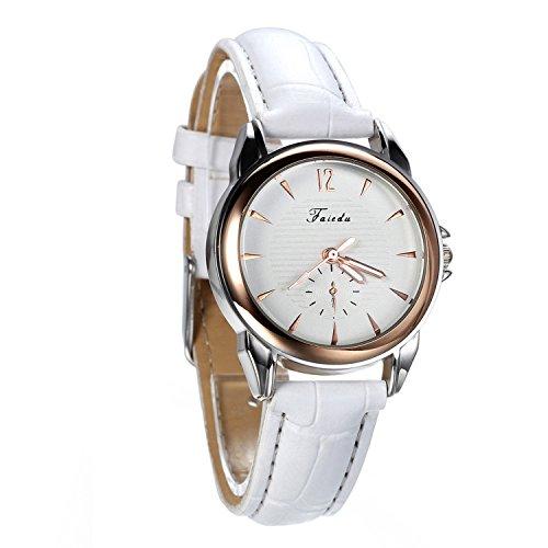 Avaner Blanco Reloj para Mujer Cuarzo Analogico Reloj de Pulsera Pequeño Minimalista, Diseño Elegante Casual Correa de Cuero (Blanco), Regalo de San Valentín