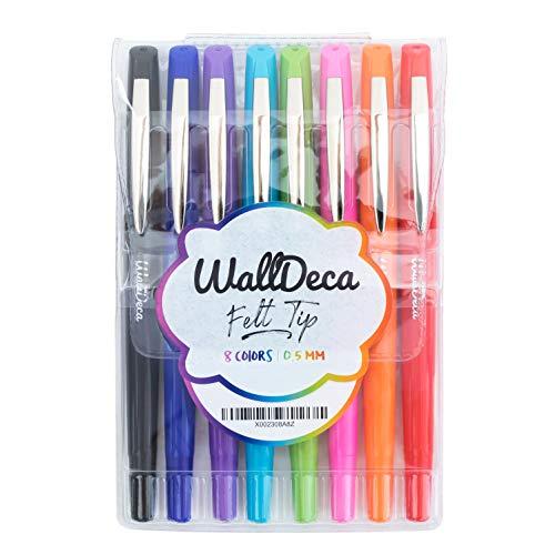 WallDeca Bolígrafos de punta rotulador (0,5 mm), colores de arco iris | Hecho para escritura diaria, diarios, notas y garabatos (paquete de 8)