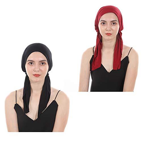 Women Head Scarf Soft Lycra Modal Cotton Turbans Chemo Caps Tied Bandana Head Wrap (Black+Wine)