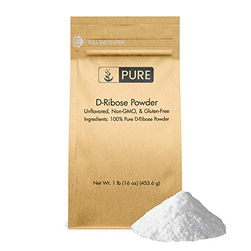 D-Ribose Powder, 1 lb, 5000 mg Serving, Premium Quality Nutritional Supplement, Non-GMO, Gluten-Free, Unflavored, Made in USA, Naturally Potent, No Additives, Eco-Friendly Packaging