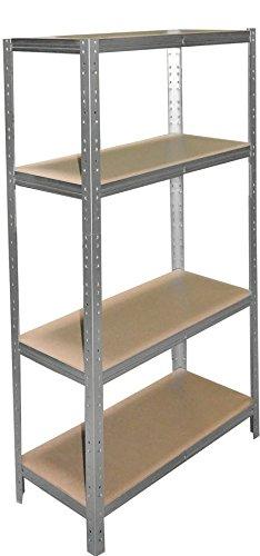 shelfplaza® HOME Schwerlastregal 155x50x40cm verzinkt/Metallregal mit 4 Böden/als Kellerregal, Garagenregal, Werkstattregal oder Lagerregal/Steckregal Metall mit 175kg Tragkraft