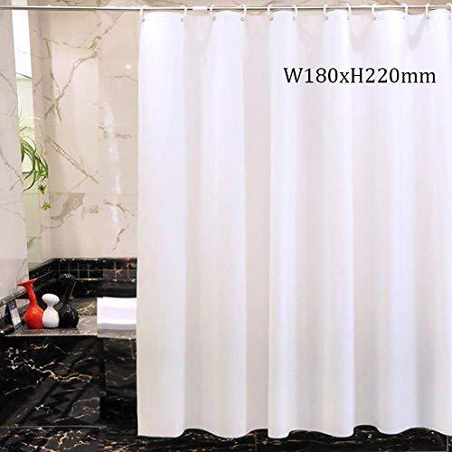 Warmiehomy Duschvorhang Weiß 180 X 220CM Anti Schimmel Duschvorhänge Wasserabweisend Shower Curtain Textil mit 12 Duschvorhangringen für Home Gemietetes Haus Hotel