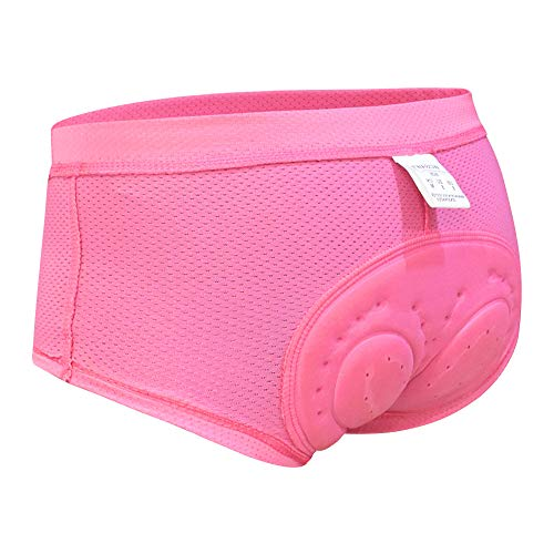 WOSAWE Damen Fahrrad Unterhose Atmungsaktiv Bequeme 3D Gel Gepolstert Mountainbike Kurz Hose für Radfahren Reiten Tour (Rosa XL)