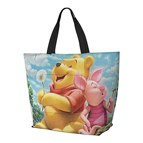 Bolso de mano con asa de hombro y asa para el hombro, diseño de Winnie the Pooh, ideal para ir de compras, para gimnasio, playa, viajes, diario, unisex, plegable