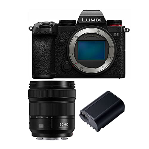 Panasonic LUMIX S5 4K Mirrorless Full-Frame L-Mount Camera (Body Only) with S-R2060 LUMIX S 20-60mm Lens and Extra Panasonic DMW-BLK22 Battery Bundle (3 Items)