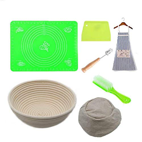 Banneton Bread Proofing Basket Set - Includes 9 Inch Baking Bowl Gift for Bakers + Linen Liner Cloth + Apron + Sourdough Bread Lame + Dough Scraper + Baking Mat + Cleaning Brush