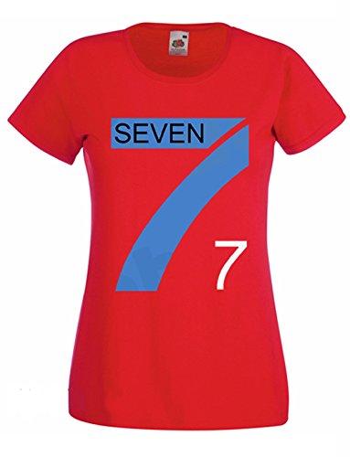 L'Arcobaleno di Luci - T-Shirt Donna Pallavolo Tipo Mila Seven Fighters Maglietta Team, Colore: Rosso, Taglia: S
