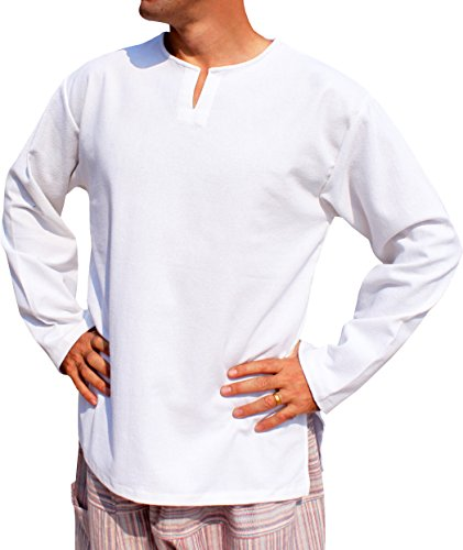 RaanPahMuang Open Collar Long Sleeve Farmers Shirt Plain Warm Cotton Side Slits, Medium, White