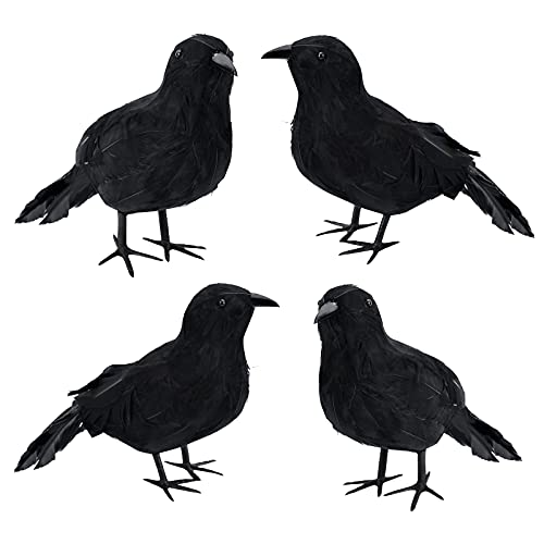 4 Pieces Halloween Decorations Outdoor Clearance ,Large Black Crows Halloween Decor Prop Birds Indoor,Feathered…