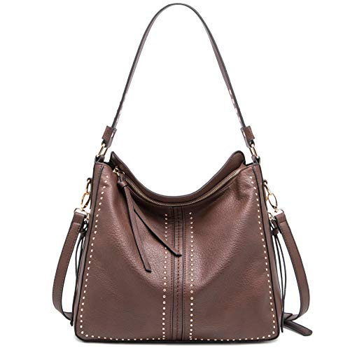 Montana West Large Hobo Handbag for Women Studded Leather Shoulder Bag Crossbody Purse With Tassel MWC-1001CF