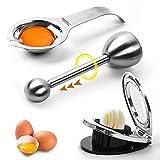 tEEZErshop Eierschneider Anzüge 3 Stück, 3-in-1 Eiöffner aus Edelstahl,Eierschneidwerkzeug & Eiertrenner,Eierteiler für r&e & ovale Scheiben,Eidottertrenner,Eieröffner(Spülmaschinenfre&lich)