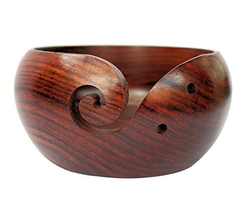 """Wooden Yarn Bowl 6'x3"""" - Crochet Yarn Bowl - Perfect Yarn Holder Bowl for..."""
