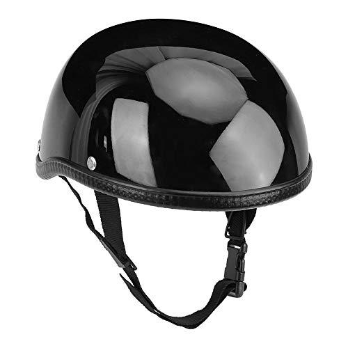 Casco de moto Suuonee, casco de seguridad de motocicleta de media cara vintage Sombrero de fibra de vidrio duro brillante negro para hombres mujeres