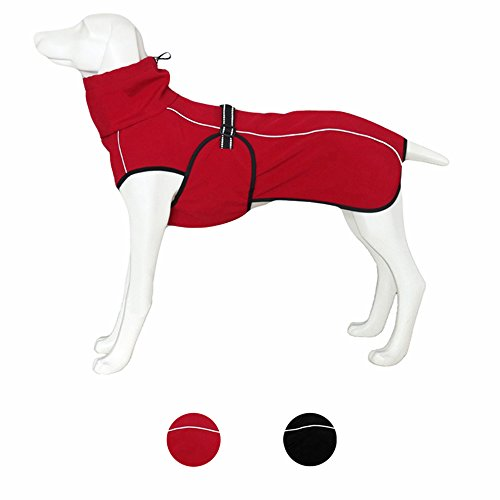 U Only You Hundejacke, Sport-Parka, wasserdicht, Winddicht, Fleece-gefüttert, mit reflektierenden Streifen, modischer Sportmantel für große Hunde (Größe M, Rot)