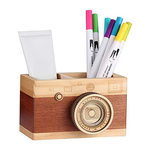 Obling - Portapenne in legno lavorato a mano, decorazione artigianale creativa per ufficio, per contenere penne e pennelli A multicolore