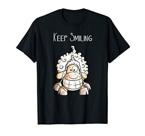 Keep Smiling Lachendes Schaf T Shirt I Sheep Funshirt