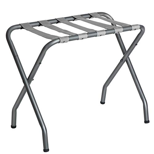 SONGMICS Metal Folding Luggage Rack, Gray URLR64GS
