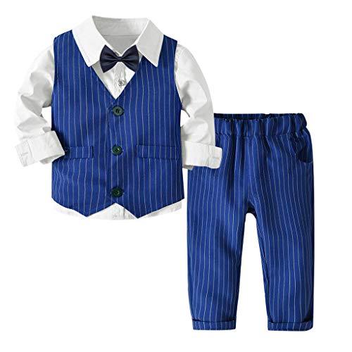 Riou-Baby Anzug Set Kinder Pullover Familie Pyjama Outfit Baby Jungen Gentleman Weste Bow Hosenträger Strap Hosen + Shirt Ausstattungs 3PCS Set (80, Weiß)