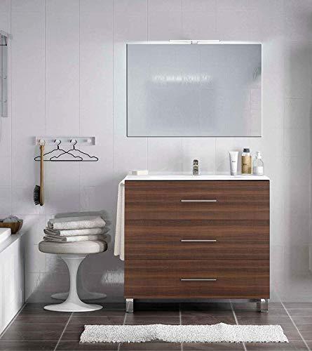 PDM Mueble de baño Kayla con Espejo y Lavabo cerámico - 3 cajones amplios - Columna Auxiliar Opcional - Toallero de Regalo 70 CM Fresno Tea