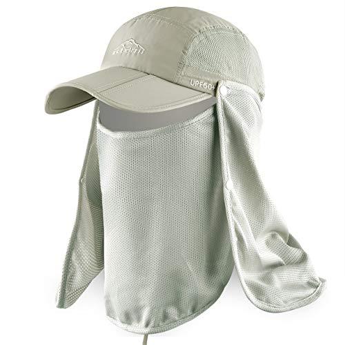 ELLEWIN Outdoor Fishing Flap Hat UPF50 Sun Cap Removable Mesh Face Neck Cover, D-khaki/ Mesh Neck Cover, M-L-XL