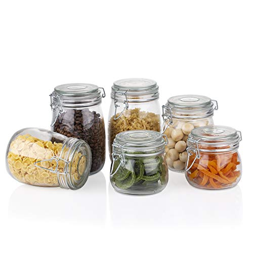 Amisglass Recipientes Vidrio con Tapas Herméticas, 6 Piezas de Frascos de Cristal Transparente con Anillo de Goma, Tarros para Almacenamiento, Botes de Cocina, Pasta, Azúcar, Frijoles