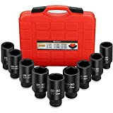 Anbull 1/2 Inch Deep Impact Socket Set, 9PCS Drive Axle Nut Impact Socket Set 29mm 30mm 31mm 32mm 33mm 34mm 35mm 36mm 38mm Hex Socket Set with Heavy Duty Storage Case