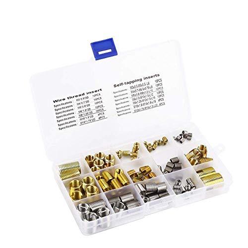 116Pcs Auto-taraudage Inserts Filetés Écrous et fil D'acier Insère fil kit de combinaison Ensemble,avec Boîte pour les Meubles de Réparation de Filetage M3 / M4 / M5 / M6 / M8 / M10 / M12