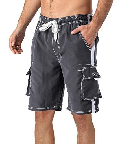 MAGCOMSEN Beach Shorts for Men Quick Dry Shorts Swim Trunks Men Short Summer Shorts Board Shorts Mens Swimming Shorts for Men Grey