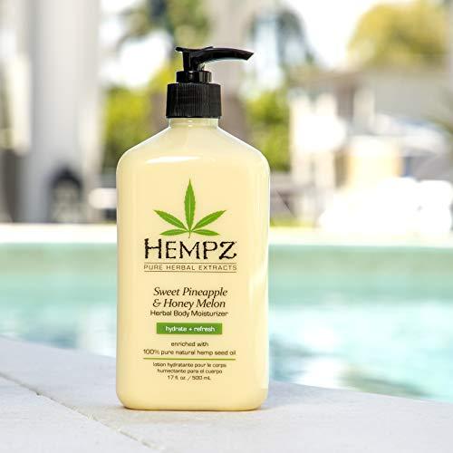 Hempz Sweet Pineapple & Honey Melon Moisturizing Skin Lotion, Natural Hemp Seed Herbal Body Moisturizer with Jojoba, Natural Extracts, Vitamin A and E, 17 oz