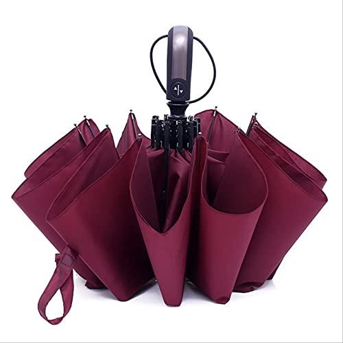 MUYAO Paraguas Plegable Automático De Plástico Negro para Grandes Empresas De Diez Huesos