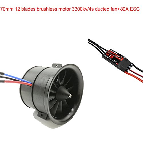 Powerfun EDF 70mm 11 Blades Ducted Fan with RC Brushless Motor 3400KV with ESC 80A(2~6S) Balance Tested for EDF 4S RC Jet Airplane