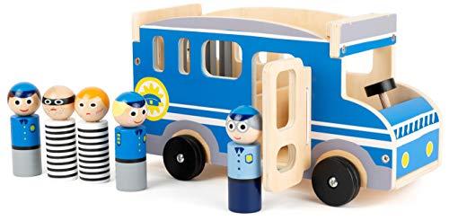 small foot 11459 Großer Polizeibus aus Holz, mit Spielfiguren und viel Platz für Mitfahrer und Diebe, ab 3 Jahren