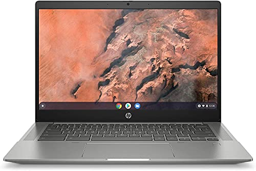 "HP - PC Chromebook 14b-na0000sl Notebook, AMD Ryzen 3 3250C, RAM 8 GB, SSD 128 GB, Grafica AMD Radeon, Sistema Operativo Chrome OS, Google Play Store, Schermo 14"", Lettore Impronte Digitale, Argento"