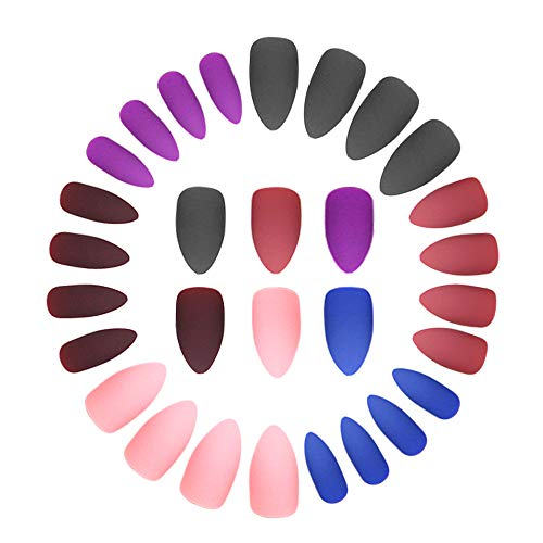 24 Pcs x 6 Colors Matte Press on Stiletto Nails - Almond Professional Nail Art Supplies, Press on Nails For Women Medium Length, Fake Nails, False Nails with Nail Adhesive Tabs