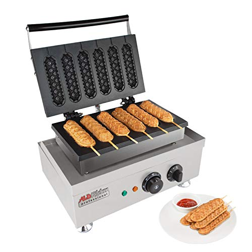 ALDKitchen Corn Dog Waffle Maker for Commercial Use | 6 Hotdog Waffles on a Stick | Stainless Steel | 110V (6 Hot Dogs)