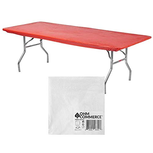 Kwik-Covers 6' Rectangular Plastic Table Covers Bundle of 5 with Seventy (70) Ohm Commerce Paper Napkins - Indoor or Outdoor Fitted Table Covers (Table NOT Included) (30' x 72' Red)