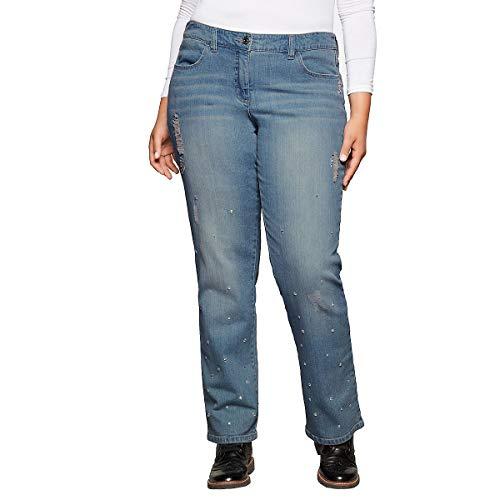 sheego - Jeans da Donna con Strass Mix Blu Chiaro 60