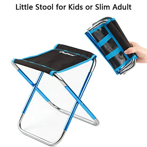 Ultralight Portable Folding Camping Stool Mini Portable Folding Camp Stool Chair for Outdoor Fishing Hiking Backpacking Travelling Little Stools (8.6'x9.4'x10.6' for Kids only, Blue)