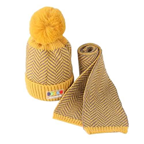 iSunday (2 sombreros de bebé para invierno, gorro de punto, para niños, otoño e invierno, lana cálida, gorro de lana para bebé, gorro de punto para niños (amarillo)